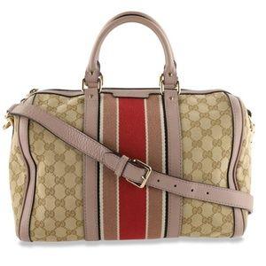 💯 Auth Gucci Boston GG Canvas Satchel Bag